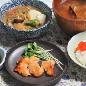 6月13日の母の夕食 鮭の西京漬けなど