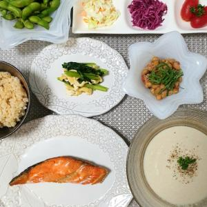 冷製【ごぼうスープ】と何か朝ごはんみたいな晩ごはん^^