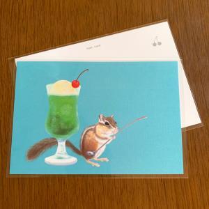 【新作】ポストカード:リスとクリームソーダ