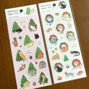 箔入り「クリスマスペーパーシール」Cat &Tree・Cat&Wreath