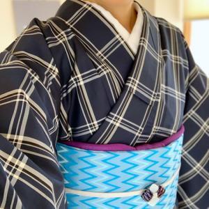 米沢紬に稲妻模様の半幅帯でカジュアルに