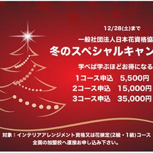 [お知らせ]日本花資格協会のコースが、お得なキャンペーン中です。