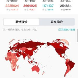 世界・日本のCOVID-19感染症例数5/6pm8:02