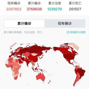 世界・日本のCOVID-19感染症例数5/7pm11:03