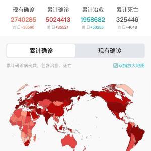 世界・日本のCOVID-19感染症例数5/21pm7:52
