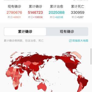 世界・日本のCOVID-19感染症例数5/22pm9:39
