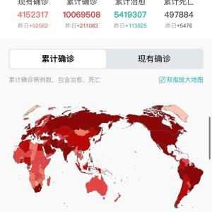 世界・日本のCOVID-19感染症例数 6/28pm11:52