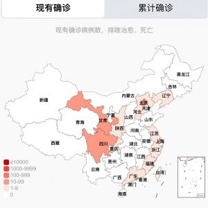 中国のCOVID-19感染症例数 7/2pm10:00