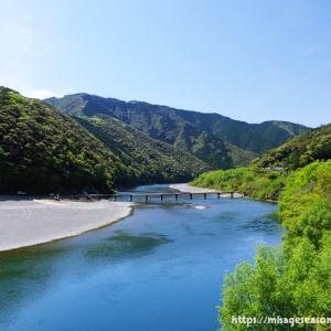 四万十川の風景...岩間沈下橋が全面復旧