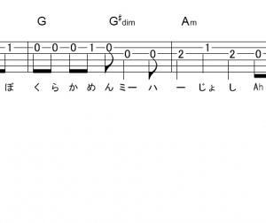 「仮面ミーハー女子   (サビ)」【ЯeaL】_ギターTAB譜(メロディ+コード)