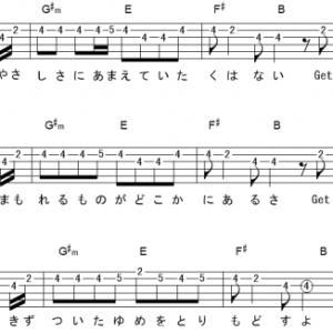 「Get Wild (サビ)」【TM NETWORK】_ギターTAB譜(メロディ+コード)