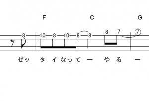 「めざせポケモンマスター (サビ)」【松本梨香】_ギターTAB譜(メロディ+コード)