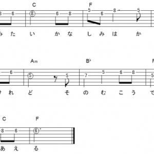 「いつも何度でも (サビ)」【木村弓】_ギターTAB譜(メロディ+コード)