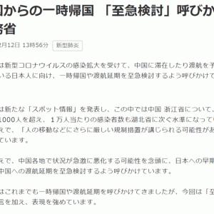 中国から帰国する日本人、中国に残る日本人 (自宅待機 2日目)