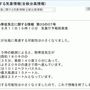 台風7号発生見送り