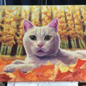 枯葉と猫ちゃん、描き始めました(その3)