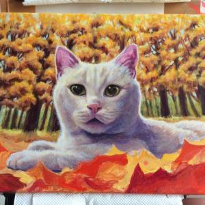 枯葉と猫ちゃん、描き始めました(その4)