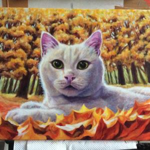枯葉と猫ちゃん、描き始めました(その5)