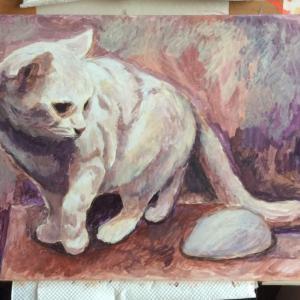 おっとりネコちゃん描き始めました(その1)