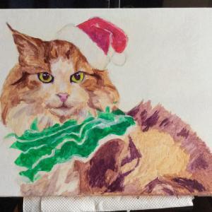 クリスマスカード用猫絵、描き始めました。(その1)