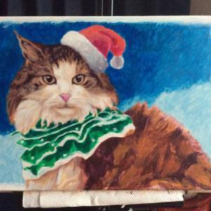 クリスマスカード用猫絵、描き始めました。(その2)
