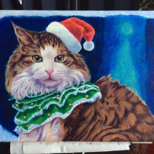 クリスマスカード用猫絵、描き始めました。(その4)