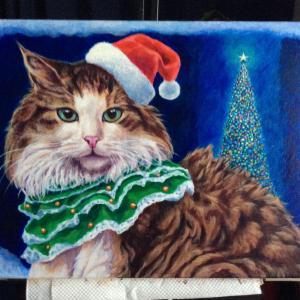 クリスマスカード用猫絵、描き始めました。(その5)
