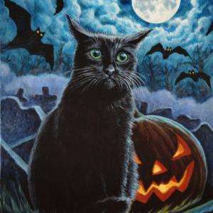 2020ハロウィーンアート黒ネコちゃん描き始めました(その5・完成)