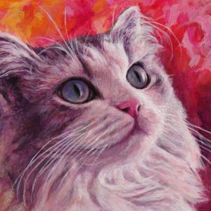 新作猫絵・見上げる猫ちゃん描きました