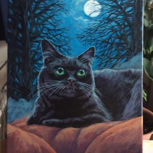ハロウィーン黒猫(2019)、描き始めました。(その3)