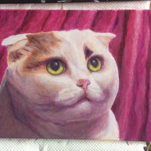 女王様ネコちゃん小品、描き始めました。(その2)