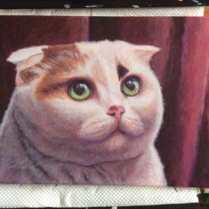 女王様ネコちゃん小品、描き始めました。(その3)