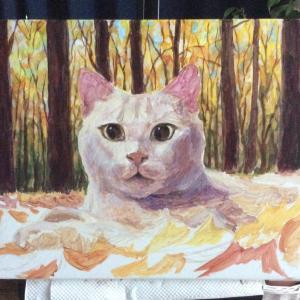 枯葉と猫ちゃん、描き始めました(その1)