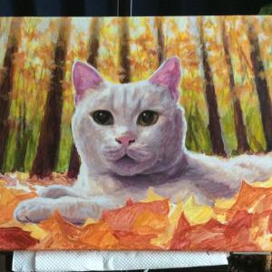 枯葉と猫ちゃん、描き始めました(その2)