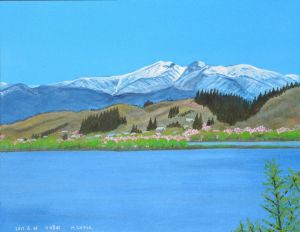 残雪の雁戸山と釜房湖