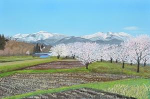 春の盛り 野の桜と雁戸山   宮城県川崎町大針