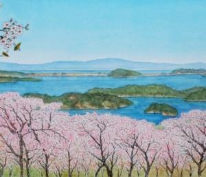 松島 西行戻しの松から春爛漫   松島町