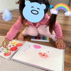 シャボン玉×絵の具でバブルアートをしてみました。