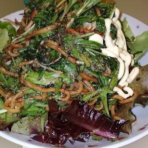 家庭菜園の水菜と葉大根の焼きそば