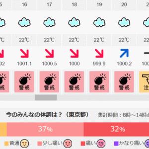 弧状列島,気象病と気圧 5/10(日) 8時~14時体調痛い32% 気圧は0時から低下/20時から上昇/22時から低下
