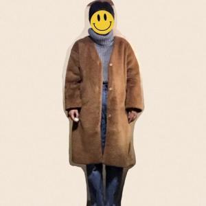 GUのボアコートをムートン風にカジュアルに着てみた。♩
