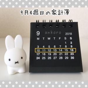 【9月】4週目の家計簿公開と残し貯め貯金額