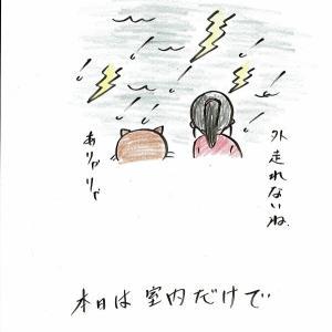 今日は雷雨につき