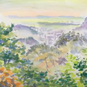 朝、雨上がり多摩丘陵からの風景