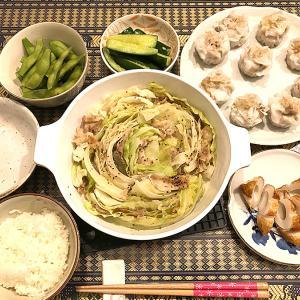 「ポン酢」で食べる、豚肉とキャベツのミルフィーユ焼きと焼売など