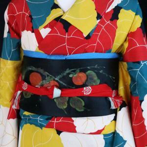 4色の葉っぱ錦紗アンティーク小紋