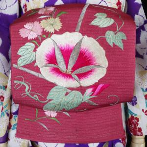 長春色に朝顔に撫子手刺繍アンティーク絽単帯