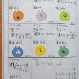 【英語学習記録】1/25〜1/31【1週間】それと1月の合計勉強時間
