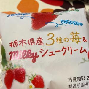 不二家 栃木県産3種類のいちご&ミルキーシュークリームだよ