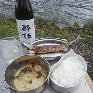 秋刀魚が美味しく焼ける炭の配置発見 18年9月7日(金)~8日(土) 西湖自由キャンプ場